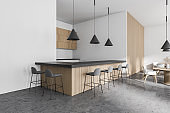 Modern white and wooden bar corner