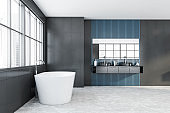 Gray and blue bathroom interior with tub and sink