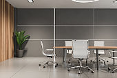 Gray and wooden office meeting room
