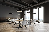 Gray industrial style restaurant corner