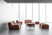 Gray panoramic office waiting room