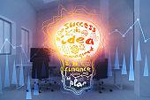Bright business idea concept, lightbulb in office