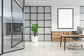 White and metal CEO office interior with poster