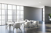 Panoramic gray dining room interior