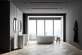Grey and wooden bathroom interior