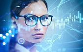 Businesswoman in glasses, global stock market