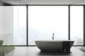 Panoramic concrete floor bathroom with tub