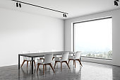 Modern white dining room corner