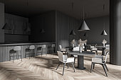 Stylish dark gray cafe bar corner