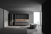 Grey bathroom interior with tub and sink