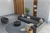 Concrete and gray living room, top view