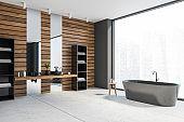 Grey and wooden bathroom corner