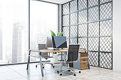 Panoramic white and metal office workplace
