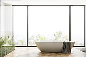 Panoramic wooden floor bathroom with tub