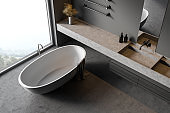 Gray bathroom interior with sink and tub, top view
