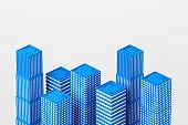 Skyscrapers and modern city model, development