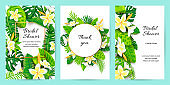 Invitations with jungle leaves, tropical flower Plumeria.