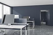 Grey open space office interior