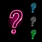 Neon question mark icon in four different colours isolated on black background.  Quiz, interrogation, faq, problem concept. Night signboard style. Vector 10 EPS illustration.