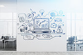 Business plan sketch on office wall