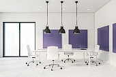 White and purple loft meeting room interior