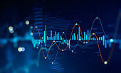 Stock market and trading, digital graph