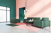 Pink and green living room corner