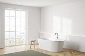 White bathroom corner with tub