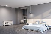 Gray master bedroom and home office interior