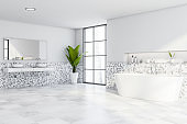 White mosaic bathroom, tub and double sink