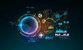 Online work global futuristic interface