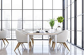 Panoramic white armchairs dining room interior