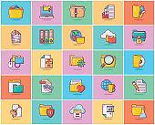 Set Of Folders Flat Icons