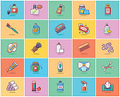 Hygienic Products Flat Icons Pack
