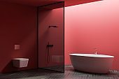 Red bathroom corner with tub, shower and toilet