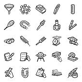 Science Experiments Doodle Icons Pack