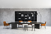 Loft office library interior with table