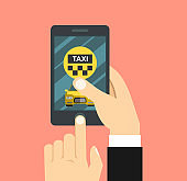 Taxi service on mobile phone illustration, smartphone app for internet online taxi clipart image