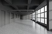 Empty panoramic gray office interior with doors