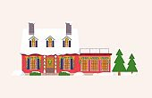 Isolated big decorated house for christmas holiday