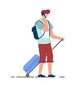Tourist man. Traveler person in mask