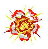 Cartoon bomb explosion isolated on white background
