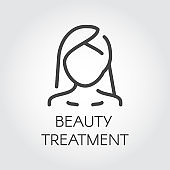 Beauty treatment icon. Abstract portrait of woman in linear style. Cosmetology, skincare, healthcare concept. Contour of female face. Simplicity outline label. Graphic logo. Vector illustration