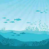 Undersea coral reef. Undersea panorama vector