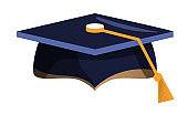 Academic graduation cap with tassel isolated on white