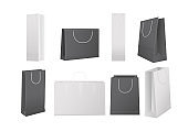 Paper shopping bags. Realistic white and black bag