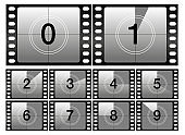 Countdown frames. Classic old film movie timer