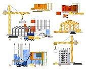 Construction site building set. Tower, truck crane