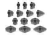 Set of people icons in trendy flat style. Crowd signs. Vector illustration