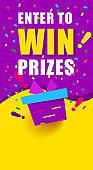 Bright vertical banner with text, enter to win prizes. gift box on yellow
